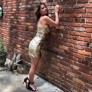 Gold Sequin Sequined Strapless Mini Club Dress